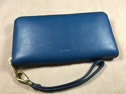 $85 Fossil Emma Marine Navy Leather Wallet Phone Wristlet Clutch RFID Protection