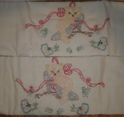 Vintage Pair Of Pillowcases Embroidered Kittens Ribbon Heels Cat Kitty Flowers