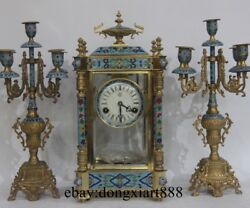 Europe Palace Bronze Cloisonne Mechanical Swing Table Clock Candlestick Pricket