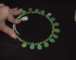Antique Navajo Sterling Royston Turquoise Collar Necklace 66.0gram Expands 18