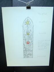"""""""tree Of Life"""" Stained Glass Design Original Pencil Sketch By C. Kelm"""