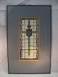 Crown And Cross Christian Shield Stained Glass Print By C. Schattauer Kelm