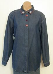 #7297 CUTE! 'CAPACITY' BUTTON DOWN DENIM TOP WEMBROIDERY SIZE MEDIUM