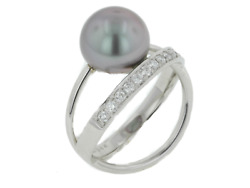 18k White Gold Black Pearl And Diamond Ring By Gellner