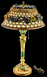 Antique Very Scarce French Gesso Barbola Wicker Floral Table Lamp