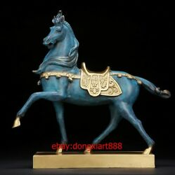37 Cm China Art Deco Pure Brass Painted Animal Delu Horse Battle Steed Sculpture