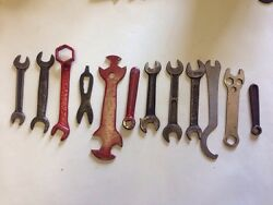 12 Wrench Tool Lot - Ford Indestro Farm-tractor Herbrand Alligator Etc
