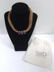 5mm Sebbag Designs 3 Bead Sterling And Leather 16 Necklace Nice