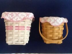 Pair Longaberger Horizon Of Hope Baskets 2002 And 2004 W/ Liners Evc