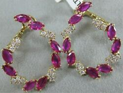 Modern Marquise Diamond Ruby 14k Y Gold Pave Pave Circle Hoop Earrings E58205yp