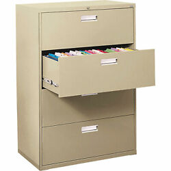 Sandusky LF6A36407 4Drawer Lateral File Cabinet-Putty36inWx19 14inDx53 14inH