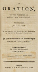Richardson. Oration On The Principals Of Liberty And Independence July 4 1808