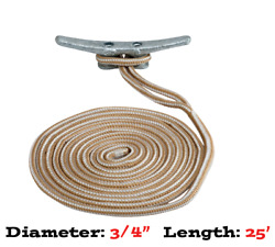Premium Dock Line 3/4 Dia. 25and039 Long Double Braid Gld/wht 302119025g/w-osm