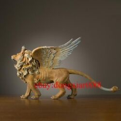 58 Cm Chinese Art Deco Pure Brass Painted Mighty Myth Animal Wing Lion Sculpture