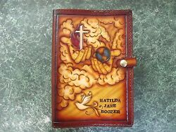 X-large Custom Made Leather Bible Cover. Can Be Personalized.