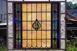 Huge Leaded Stained Glass Window-antique-c 1910-framed-7and039hx58w-glass Window Andnbspandnbsp