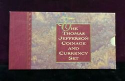 1993 Thomas Jefferson Coinage And Currency Set - Uncirculated Dollar, Nickel, 2