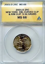 2001-d 25c Anacs Ms 66 Error New York Double Curved Clip And Rim Clip Quarter