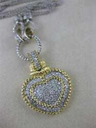 Large Pave Diamond 14kt 2 Tone Gold Filigree Heart Necklace 2 Row 16 N02922aw3