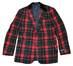 2495 Polo Mens Flannel Cashmere Blazer Jacket Plaid Red Green 42l