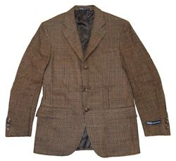 1395 Polo Mens Flannel Wool Blazer Plaid Brown Beige Red Italy 39s