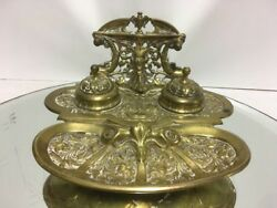 Antique Lawyer' S Bronze Pen Coin Dish 2 Ink Stand Inkwell Devil Satan Rams Head