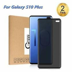 ?2 PACK?Samsung Galaxy S10 Plus Privacy Screen Protector Tempered Glass 3D Case
