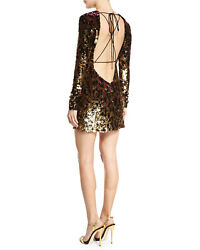 New With Tags - Roberto Cavalli Runway Line - Sequin Leopard Backless Mini Dress