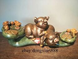 Wucai Porcelain And Pottery Chinese Zodiac Fengshui Animal Ruyi Two Pig Hog Statue