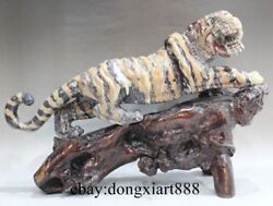 21 China Natural Shoushan Stone-carving Tiger Go Up The Mountain Fengshui Statue
