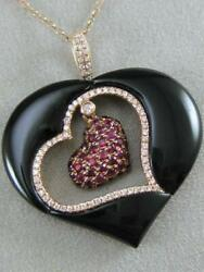 RETRO PAVE DIAMOND RUBY ONYX 14K ROSE GOLD HANGING HEART PENDANT 18