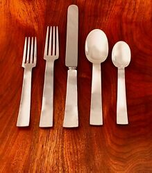 - New Old Newbury Crafters Hand-wrought Sterling Silver Place Setting Deco 1987