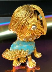 Vintage brooch Dog Puppy Yorkshire Terrier Yorkie Maltese Jelly Belly 1950s JUNE
