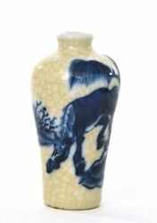 1900and039s Chinese Blue And White Crackle Porcelain Snuff Bottle Horse Pony