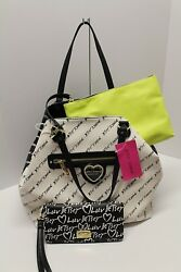 Betsey Johnson Black & Cream Trap Tote With Pouch and Wristlet wallet  NWT