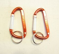 2 NEW RED CARABINER SPRING CLIP KEYCHAINS BELT BACKPACK KEY RING CHAIN 3