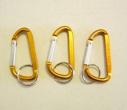 3 NEW GOLD CARABINER SPRING CLIP KEYCHAINS BELT BACKPACK KEY RING CHAIN 3