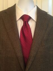 Chaps Houndstooth Mens Blazer 42l Long Condition Brown Fully Lined Wool 2 Button