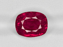 SSEF Certified BURMA Ruby 6.55 Cts Natural Untreated Deep Pinkish Red Cushion