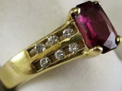 Estate 1.26ct Diamond Emerald Cut Ruby 14k Gold Cocktail Engagement Ring Z1334.7