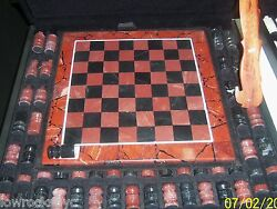 Hand Made Chess Set Dolimite With Case - Piece Of Art - Free Shipping.