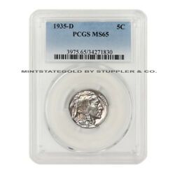 1935-d 5c Buffalo Nickel Pcgs Ms65 Denver Minted Gem Graded Uncirculated Coin