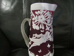 Fenton Sand Carved Pitcher 10''tall Kelseybomkampchris Red White Excellent Co
