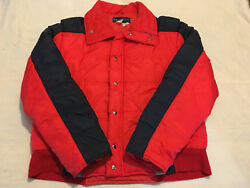 Mens Clean Red Blue Gray Xl Obermeyer Full Zip Insulated Winter Coat Jacket