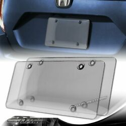 2pcs Tinted Clear/smoke Protector License Plate Frame Shield Cover Front Or Rear