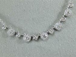 Designer Pave Diamond 14kt White Gold Hanging Halo Drops Necklace 18 Nk11338wd