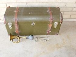 Vintage , Trunk, Brass Horn , And Attachments.