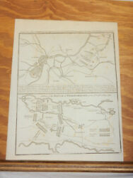 1781 Antique Layout Sketch Of Several German Battles From The Mid-1700s