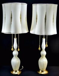 Pair, 1950's Italian White And Gold 24kt Murano Glass Lamps Hollywood Regency