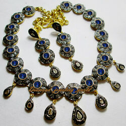 Victorian 10.80cts Rose Antique Cut Diamond Sapphire Silver Necklace Set Jewelry